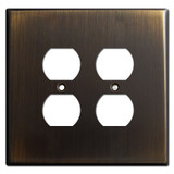 Jumbo 2 Duplex Outlet Cover Plate for 4 Plugs - Oil Rubbed Bronze