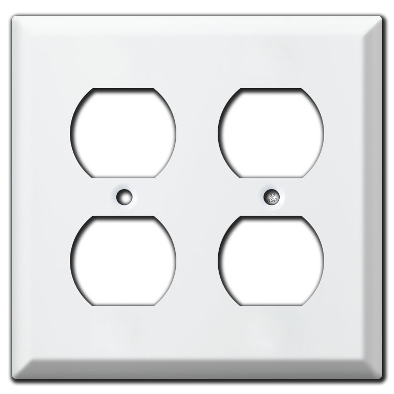Outlet Plates Double Outlet Bevel Edge Switch Plate Covers  White