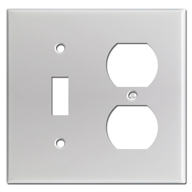 Toggle Duplex Outlet 2 Gang Switch Plates - Brushed Aluminum