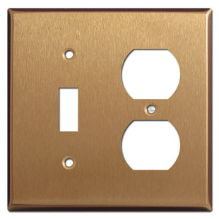 1 Toggle Duplex Outlet Covers - Satin Bronze