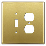 Oversized 1 Toggle 1  Duplex Outlet Covers - Satin Brass