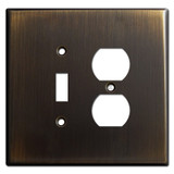Oversized 1 Toggle 1 Outlet Cover Plate - Oil Rubbed Bronze