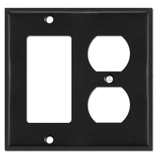 1 Rocker GFCI 1 Duplex Outlet Covers - Black