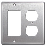 Combination Switch Plate 1 GFCI Decora Rocker 1 Duplex Outlet - Stainless Steel