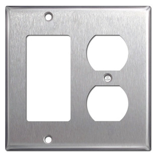 1 Decora Rocker 1 Outlet Spec Grade Stainless Steel Switchplates