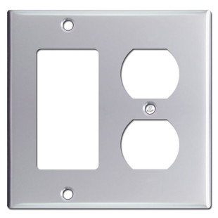 1 Decora Rocker 1 Outlet Combination Switchplate - Polished Chrome