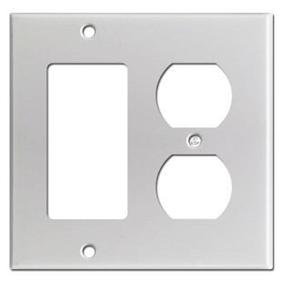 1 Outlet 1 Rocker or Decora Switch Wall Plate - Brushed Aluminum