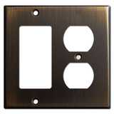 1 Duplex Outlet 1 Decora Switch Wall Plates - Oil Rubbed Bronze