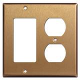 1 Decora Rocker Switch 1 Duplex Outlet Wallplates - Satin Bronze