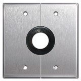 "2 Gang Split Wall Switchplates with 1"" Opening - Stainless Steel"