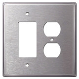 Oversized 1 Rocker 1 Outlet Covers - Spec Grade Stainless Steel