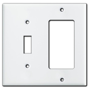 1 Toggle 1 GFI Decora Outlet Combo Switch Plate Covers - White