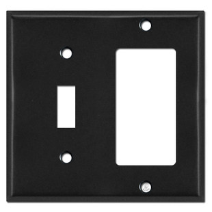 Toggle & GFI Outlet Combination Switch Plate Covers - Black
