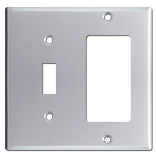 Toggle Switch & GFI Rocker Combo Switchplate Covers - Polished Chrome