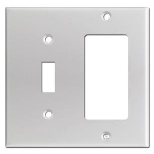 Toggle & GFI Decora Rocker Switch Plates - Brushed Aluminum