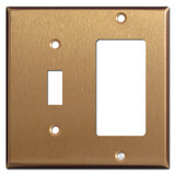 1 Toggle & GFI Decora Outlet Combination Cover Plates - Satin Bronze