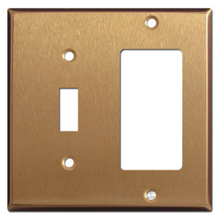 1 Toggle & GFI Decora Outlet Combination Cover Plates - Satin Bronze