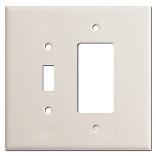 Oversized 1 Toggle & 1 GFI Outlet Switch Plates - Light Almond