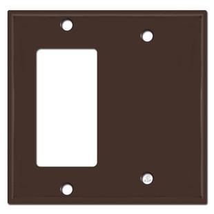 1 Decora Rocker & 1 Blank Combination Switch Plates - Brown