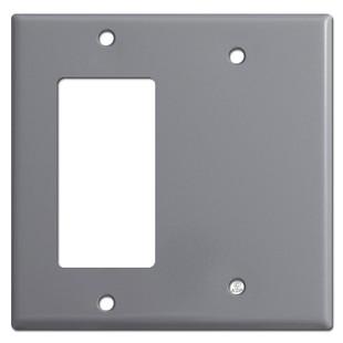 1 Decora Rocker & Half Blank Combo Wall Switch Plates - Gray