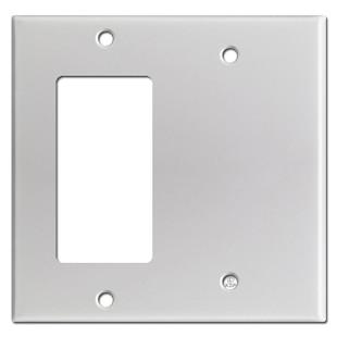 Decora Rocker & Blank Combination Switchplates - Brushed Aluminum