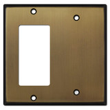 1 Decora Rocker & 1 Partial Blank Combo Wall Plates - Antique Brass