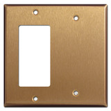 1 Decora Rocker Switch & 1 Blank Combo Wallplates - Satin Bronze