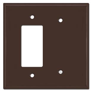 Jumbo 1 Decora Rocker Switch & 1 Blank Combo Wall Faceplates - Brown