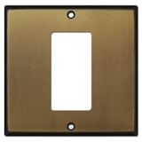 1 Decora Rocker Switch in Middle of 2-Gang Wall Plate - Antique Brass