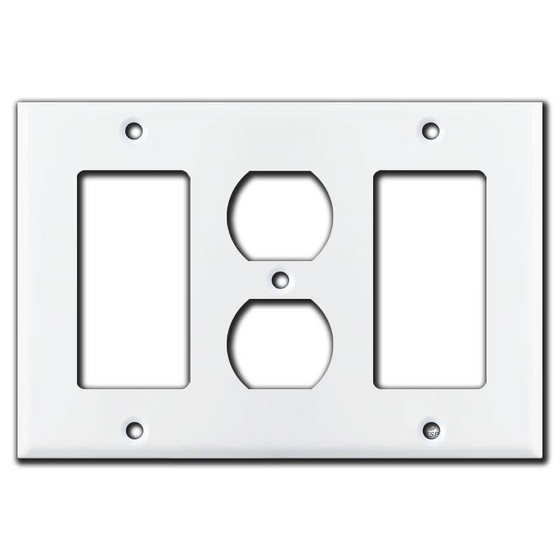 Rocker Outlet Rocker Switch Combo 3 Gang Wall Plates White