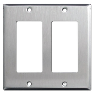 2-Gang Double GFCI Decora Rocker Switch Plate - Stainless Steel
