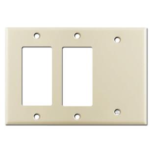 2 GFI Decora Rocker Switch & 1 Blank Combination Wall Plates - Ivory