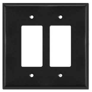 Oversized 2 Rocker Switch Plates for 2 Decora Devices - Black