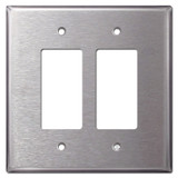 Large 2 GFCI Decora Rocker Stainless Steel Switch Plate