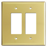 Jumbo 2 Double Rocker GFCI Decora Switch Plates - Polished Brass