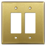 Oversized 2 Decora Switch Light Plate Covers - Satin Brass