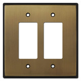 Oversized 2 Decora Rocker Switch Wallplates - Antique Brass