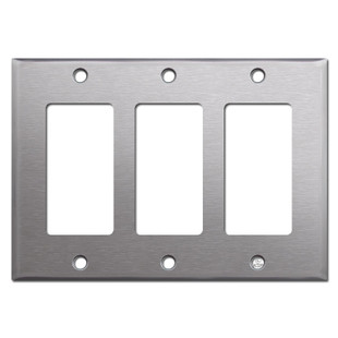 3 Gang GFCI Decora Rocker Switch Plates - 302 Stainless Steel