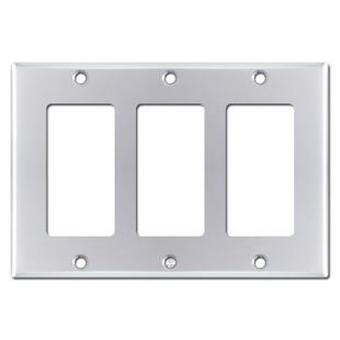 Triple GFCI Decora Rocker Switchplate - Polished Chrome