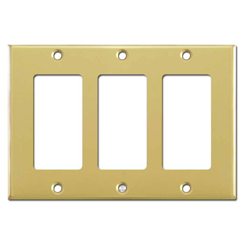 3 decora rocker light switch plate covers polished brass for Decora light switches