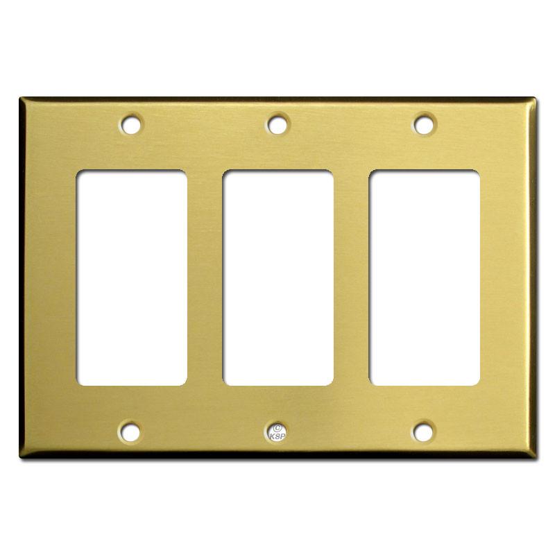 Triple Decora Rocker GFI Light Switch Covers - Satin Brass