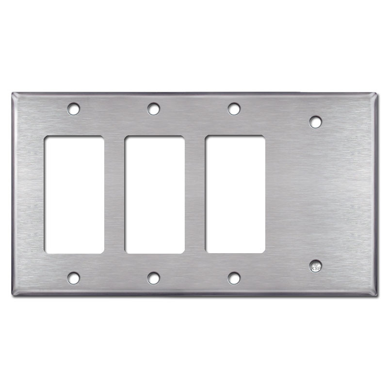 3 Rocker Switch 1 Blank Wall Plates Satin Stainless Steel