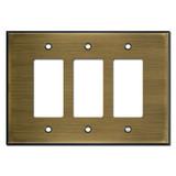 Oversized 3 Decora Rocker Light Switch Wall Plate - Antique Brass
