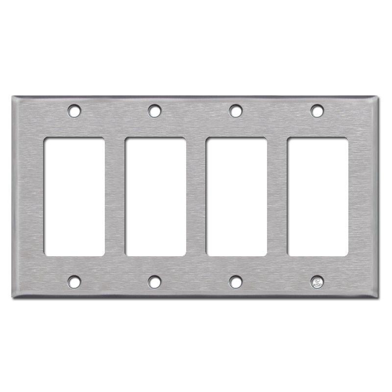 Rocker Light Switch >> 4 Gang Rocker Light Switch Plates Spec Grade Stainless Steel