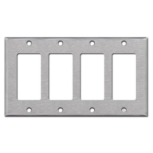 4 Gang GFCI Rocker Light Switch Plate - Spec Grade Stainless Steel
