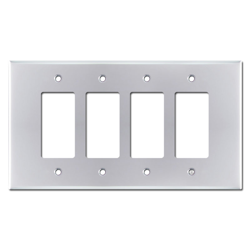 Oversized 4 Gang Decora Rocker Switch Cover - Polished Chrome