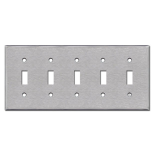 Spec Grade Stainless Steel Cover Plate for 5 Toggle Switches