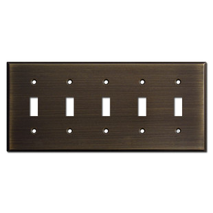 5 Toggle Switch Wall Plate - Oil Rubbed Bronze