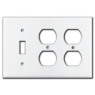 1 Toggle / 4 Horizontal Toggle Light Switch Plate - White