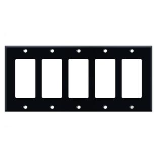 5 Rocker Switch Wall Plate - Black